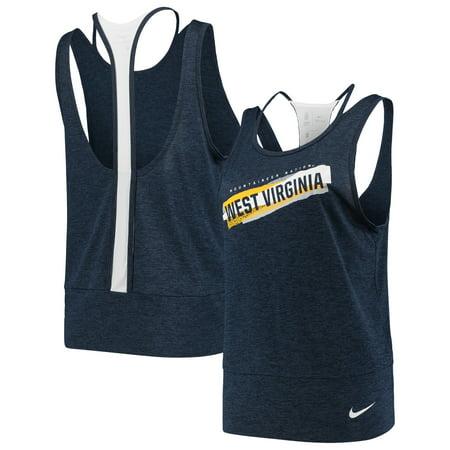 West Virginia Mountaineers Nike Women's Loose Racerback Performance Tank Top - Navy/White