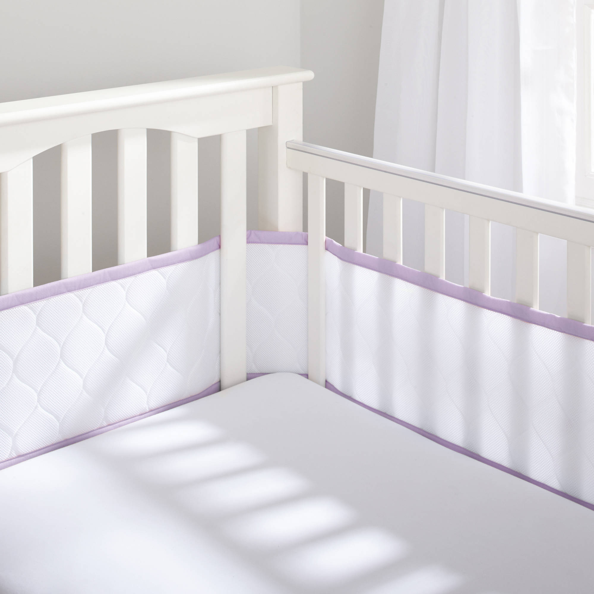 Deluxe Embossed Breathable Mesh Crib Liner, White/Lavender