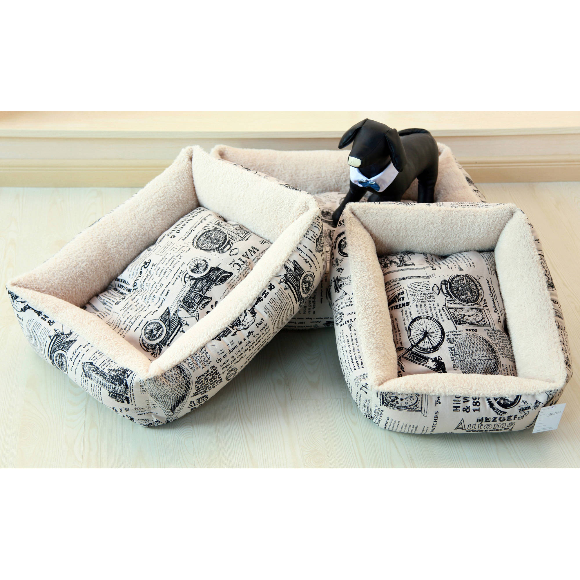 OxGord Slumber Mat Plush Fleece Cushion Pet Bed, 1800's Newspaper Design