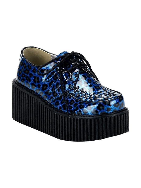 CRE208/BLU/CP Demonia Creepers Women's Shoes BLUE GLITTER Size: 7