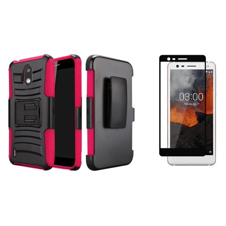 Nokia Series - Bemz Rugged Series Bundle Compatible with Nokia 3.1 A, Nokia 3.1 C with Full Body Coverage Double Layer Armor Case (Black), Tempered Glass Screen Protector and Atom Cloth