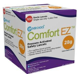 Clever Choice ComfortEZ Pressure Activated Safety 100 Lancets 28G