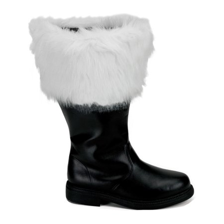 Mens Wide Width Black Santa Claus Boots White Faux Fur Cuff Holiday MENS SIZING (Faux Fur Boot Cuffs)