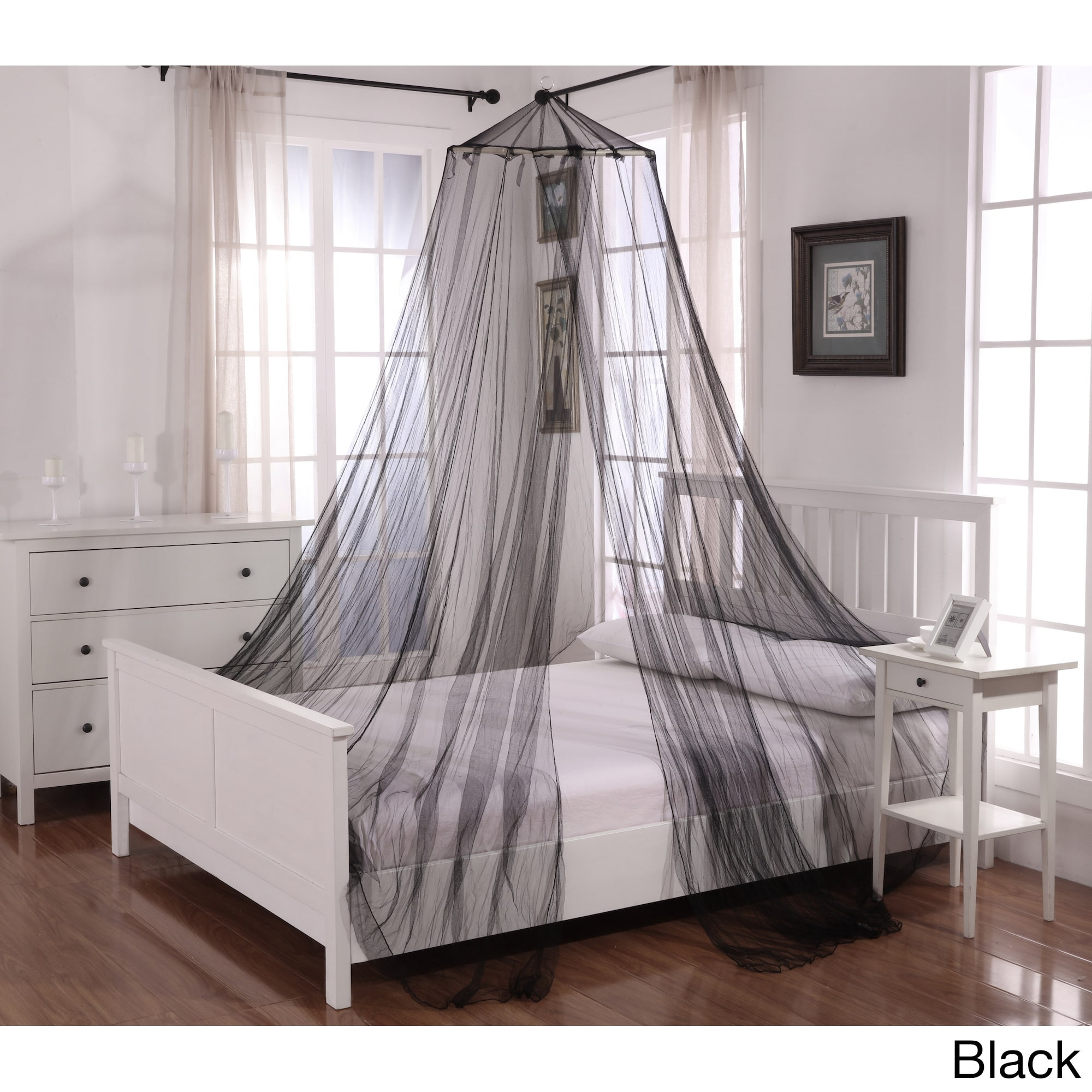 Oasis Round Hoop Polyester Sheer Mosquito Netting Bed Canopy - Walmart.com & Oasis Round Hoop Polyester Sheer Mosquito Netting Bed Canopy ...