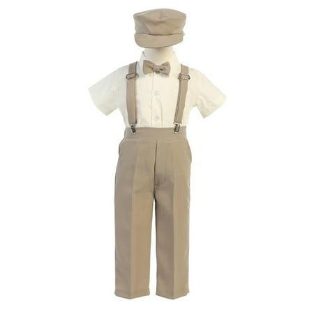 Little Boys Khaki Suspender Pants Hat Outfit Set 2T-6 - Doc Brown Outfit