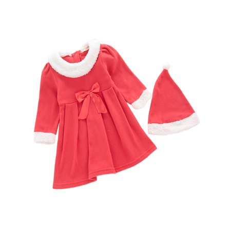 StylesIlove Baby Toddler Girl Santa Costume Red & White Dress and Hat, 2-pc Set (12-18 Months)