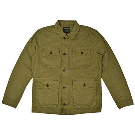 New  Lucky Brand Men's Cotton Zip Up Military Field Jacket Green (S) Cotton Zip Vest