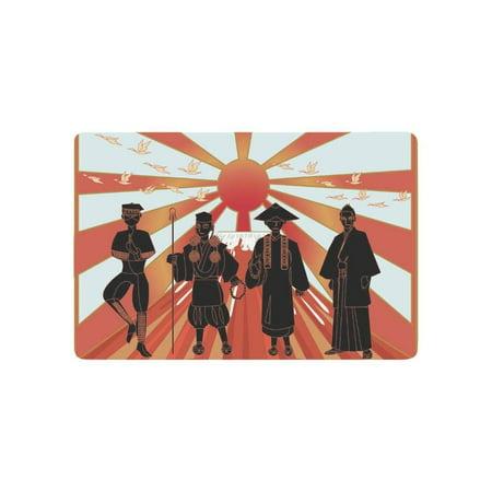 CADecor Japan Door Mat Home Decor, Japanese Ninja Monk Priest Samurai Indoor Outdoor Entrance Doormat 23.6x15.7 Inches