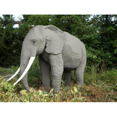 Canvas Print Replica Theme Park Elephant Legoland Sculpture Stretched Canvas 10 x 14