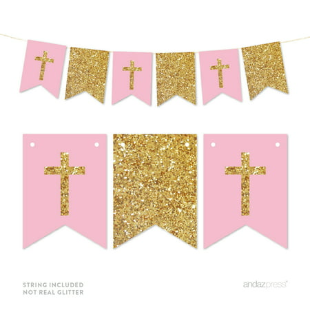 Pink Gold Glitter Baptism Communion Christening Pennant Party Banner - Halloween Pennant Banner Printable