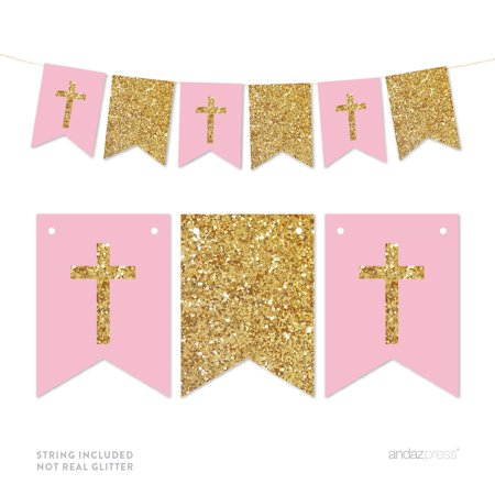 First Communion Banner Kit (Pink Gold Glitter Baptism Communion Christening Pennant Party)