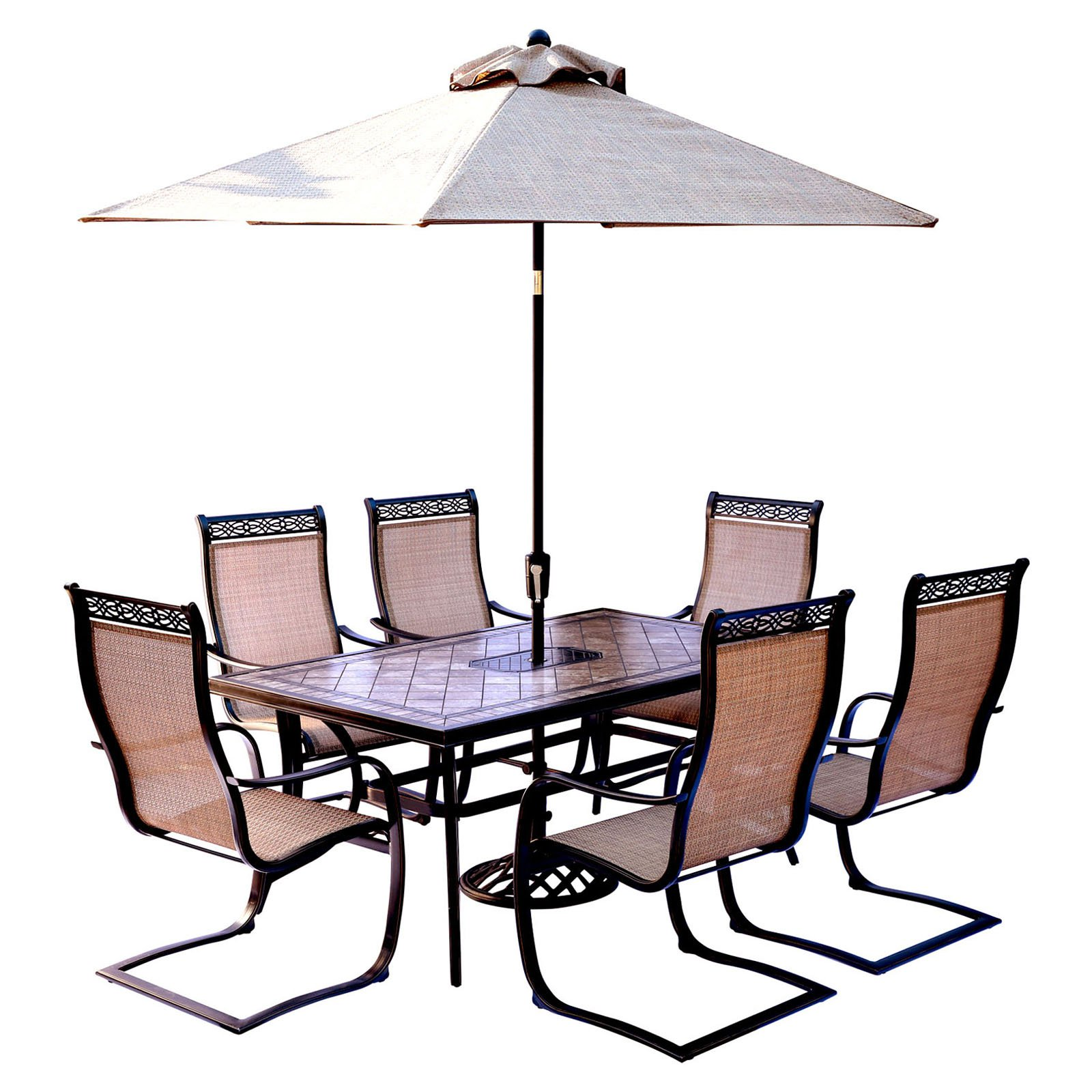 "Hanover Outdoor Monaco 7-Piece Sling Dining Set with 42"" x 84"" Glass-Top Table and 6 C-Spring Chairs, Cedar"