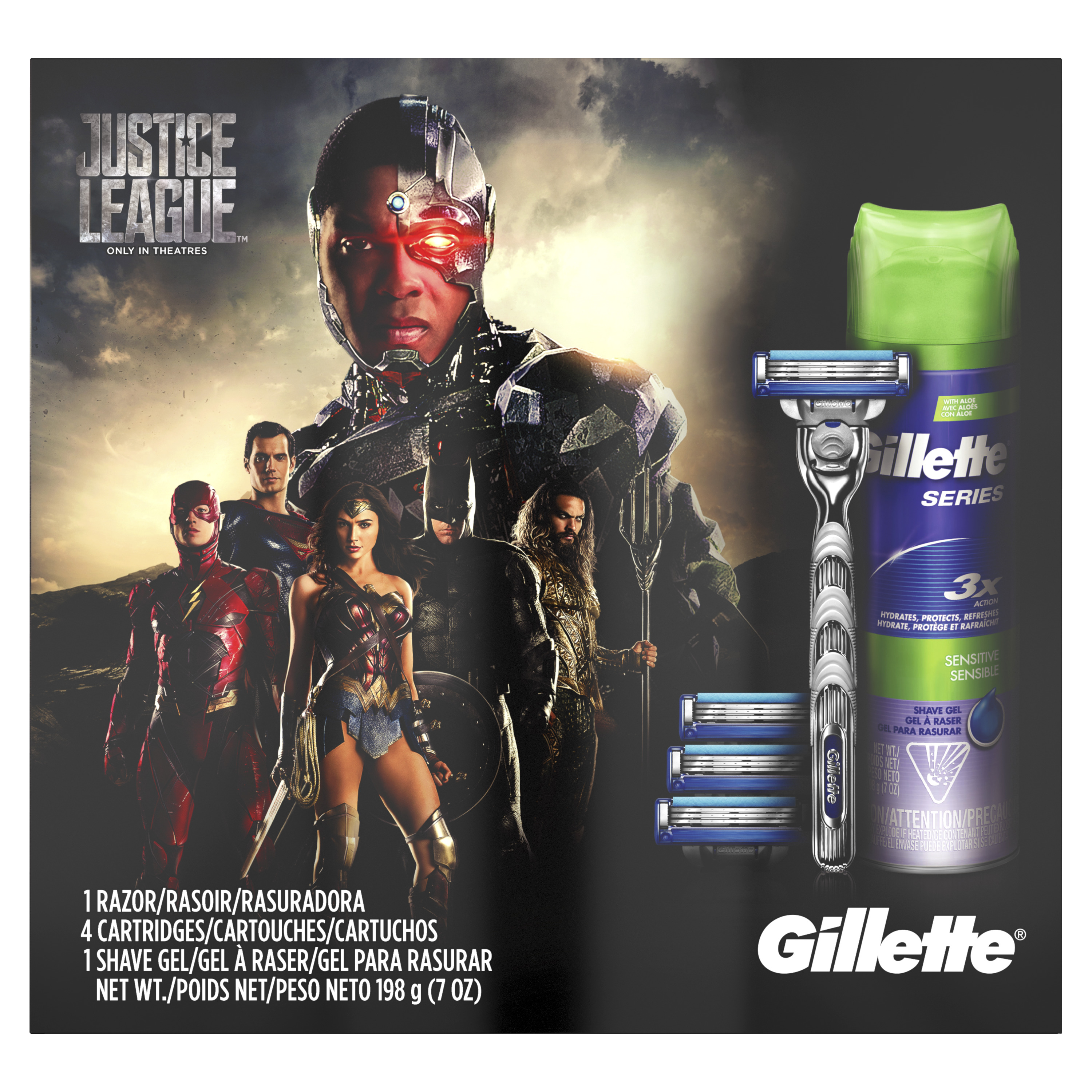 Gillette Mach3 Turbo Razor, 4 Razor Blade Cartridges, Gillette Series Sensitive Shave Gel Gift Set - 6 Pc