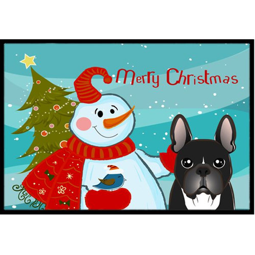Snowman with French Bulldog Doormat by Caroline's Treasures