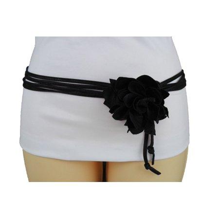 Women Black Faux Leather Belt  Skinny Tie Waistband Wrap Around Big Flower M L XL