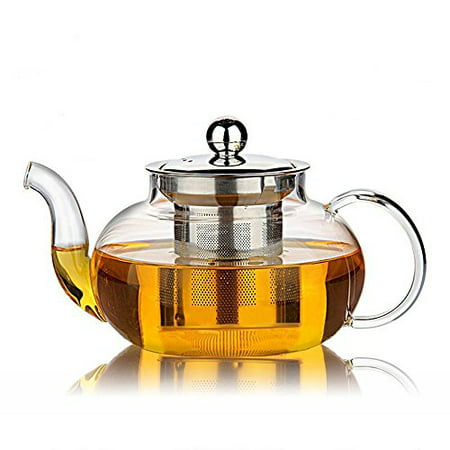 - 34 oz 1000ml  Heat Resistant Borosilicate Glass Teapot & Stainless Steel Infuser for Loose Tea, Clear