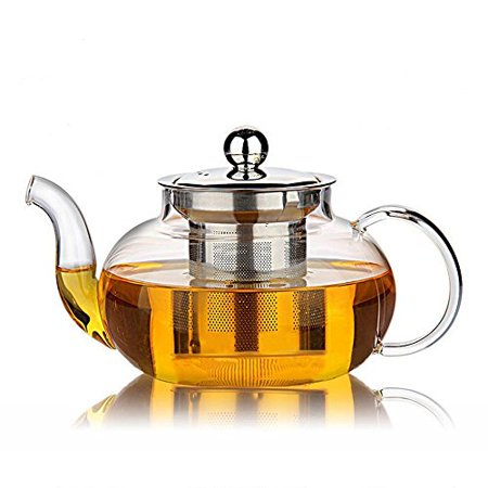 Clear Swivel Glass (34 oz 1000ml  Heat Resistant Borosilicate Glass Teapot & Stainless Steel Infuser for Loose Tea, Clear)