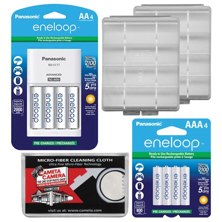 Panasonic eneloop (4) AA 2000mAh Pre-Charged NiMH Rechargeable Batteries & Charger + (4) AAA Batteries + (2) Battery Cases +