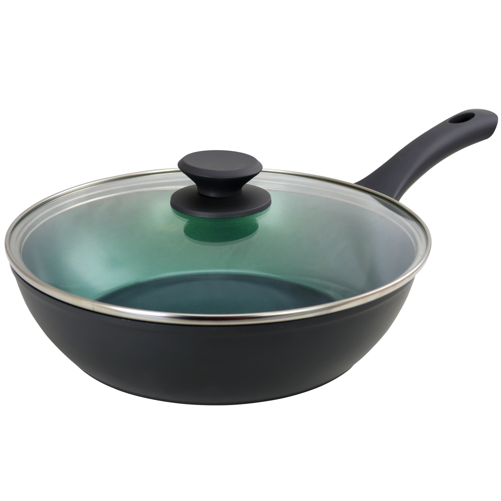 Gibson Home 3.5 Quart Green Ceramic Non-Stick Saute Pan with Lid in Matte Charcoal Grey