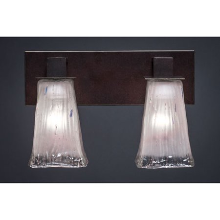 Apollo Dark Granite 5-Inch Two Light Bathroom Wall Lighting with Square Frosted Crystal Glass