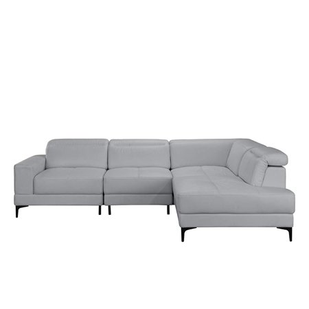 Large Modern Leather Sectional Sofa, Living Room L-Shape Couch (Grey ...