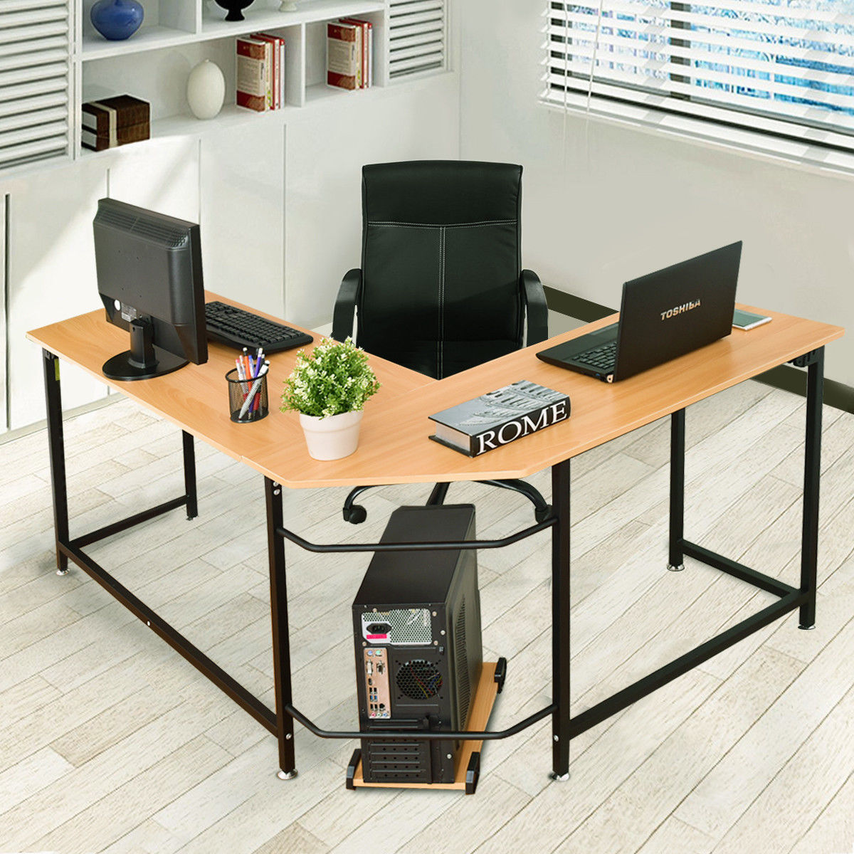 GHP Beech Wood L-Shaped Metal Frame Office Computer Desk Workstation with CPU Stand