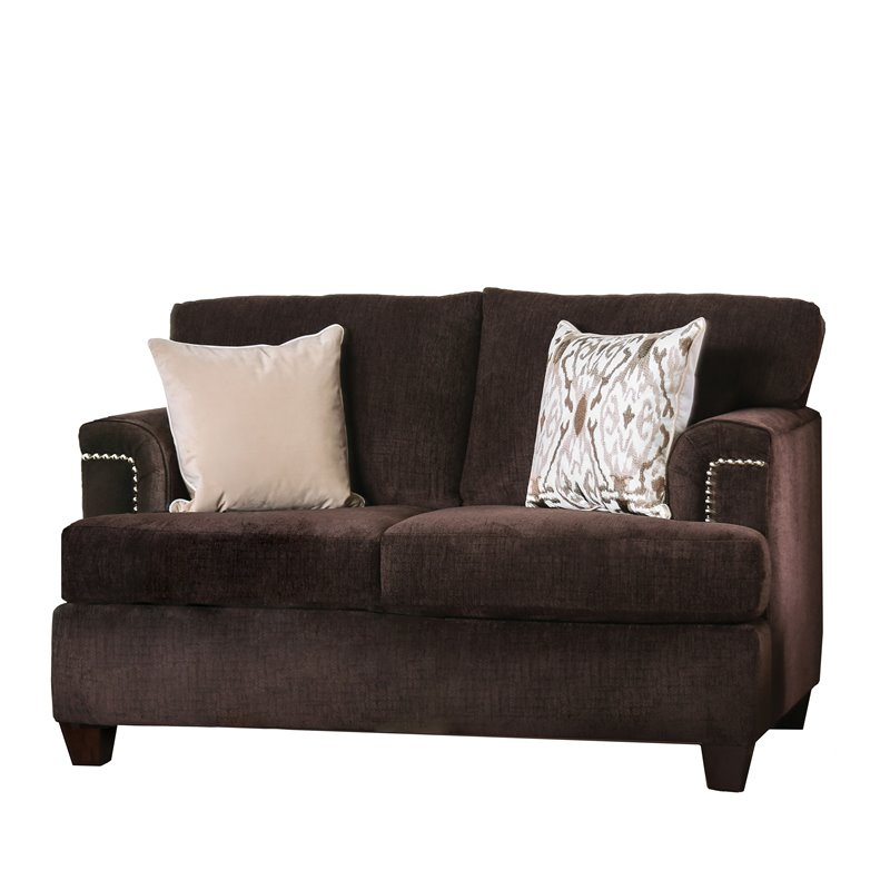 Furniture of America Bailey Brown Chenille Loveseat in Brown