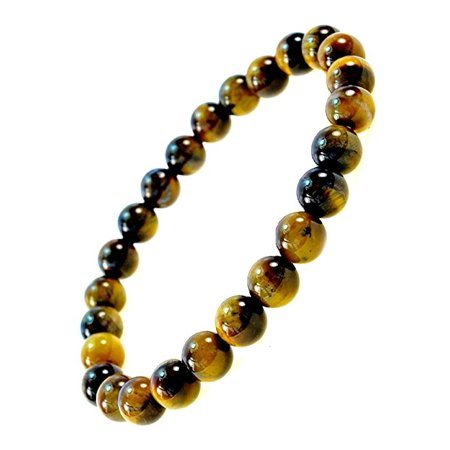 Fashion Jewelry Men Women 8mm  Tiger Eye Gemstone  Bracelet - Great for Good Luck and Protection - 91151a- 8