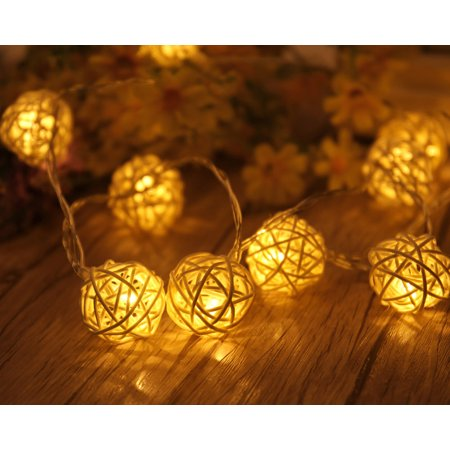 Outgeek 14.8ft String Light Romantic 20 Heads Rattan Ball String Night Light LED String Light Outdoor Indoor Decor Light for Home Bedroom Dorm Patio Christmas Halloween Birthday Party Decor