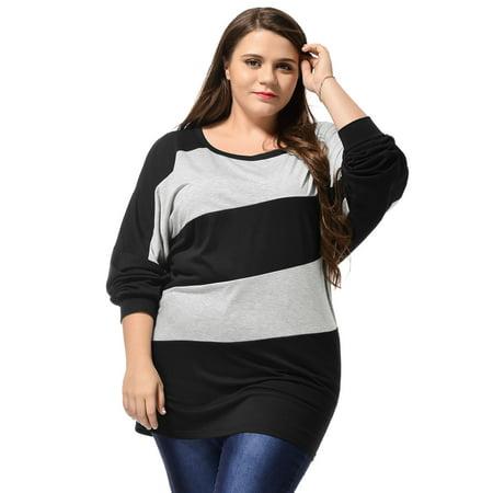 Diagonal Stripe Shirt (Women's Plus Top Plus Size Diagonal Stripes Batwing Tunic)