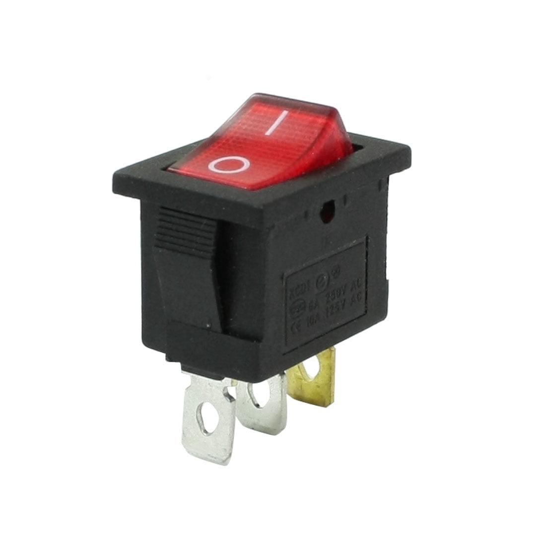 250VAC 6A / 125VAC 10A 3-Pin Red Light Lamp SPST On Off Rocker Switch