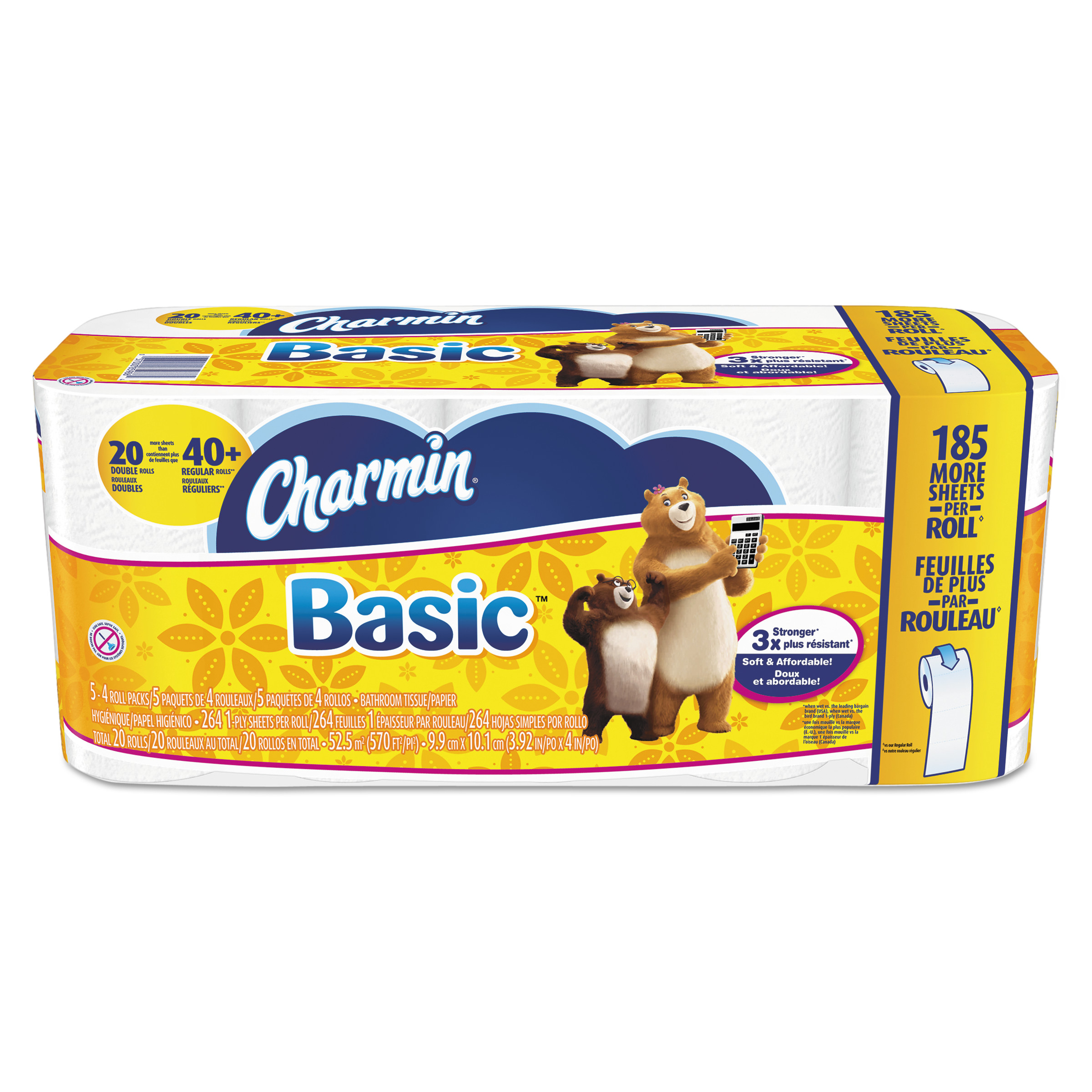 Charmin Basic Bathroom Tissue, 1-Ply, White, 264 Sheets Per Roll, 20 Rolls/Pack