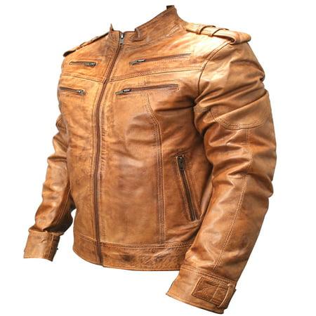 Perrini New Men's Genuine Sheep Skin Leather Fashion Jacket Brown 4 Zipped chest