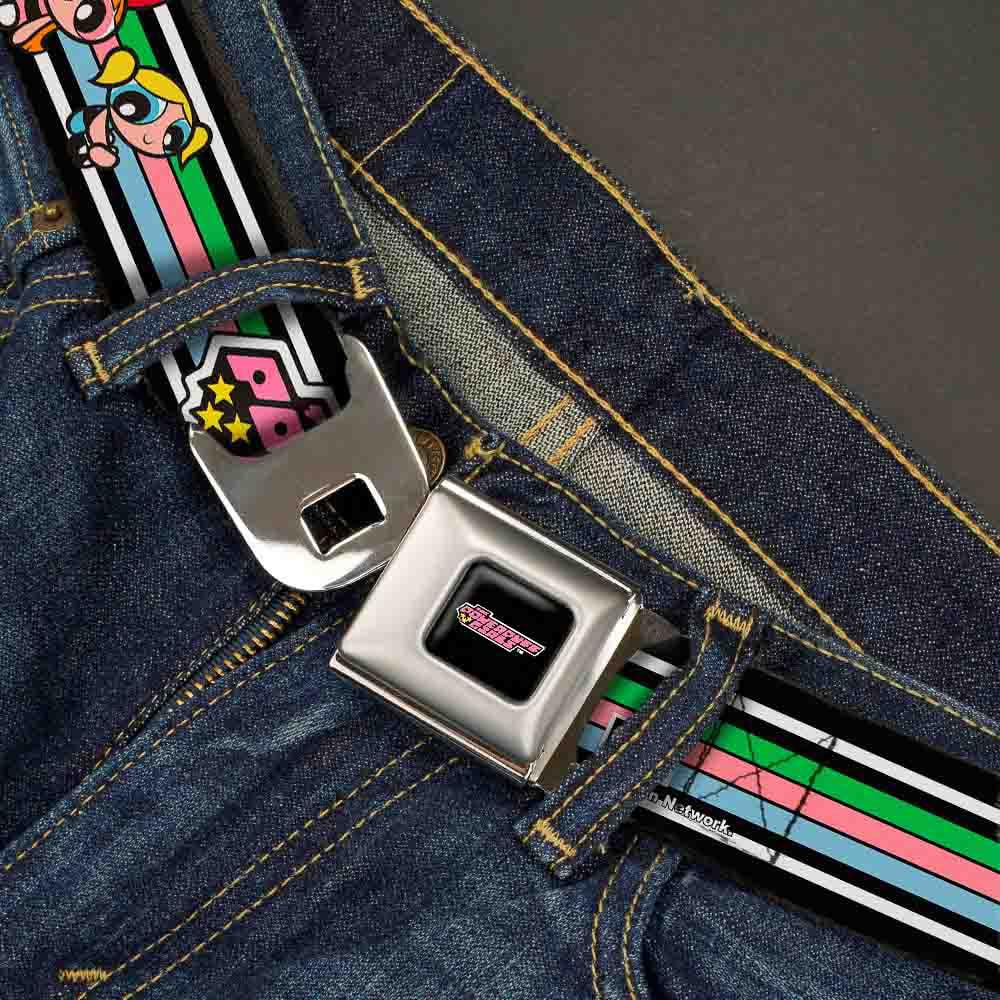 20-36 Inches in Length 1.0 Wide Buckle-Down Seatbelt Belt THE POWERPUFF GIRLS Sitting//Stripe White//Black//Pastel