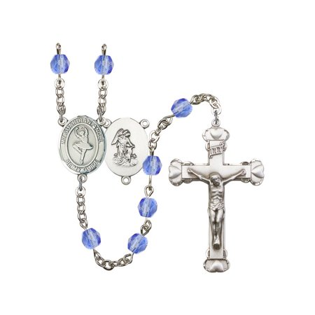 Guardian Angel/Dance Silver-Plated Rosary 6mm September Blue Fire Polished  Beads Crucifix Size 1 5/8 x 1 medal charm