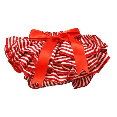 Baby Girls Red and White Stripe Satin Bloomers 0-36 Months