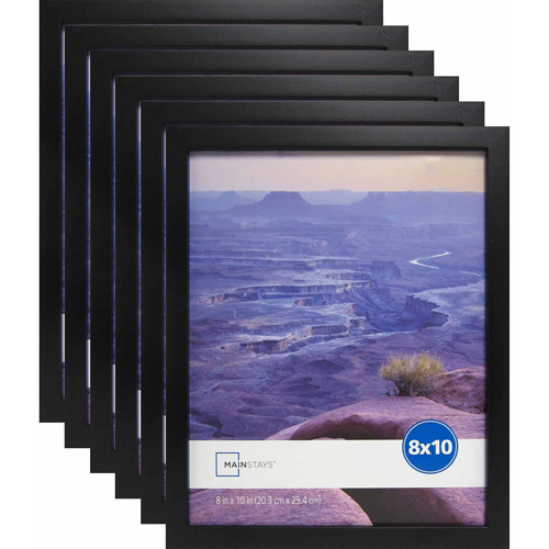 "Mainstays 8"" x 10"" Black Linear Frame, Set of 6"