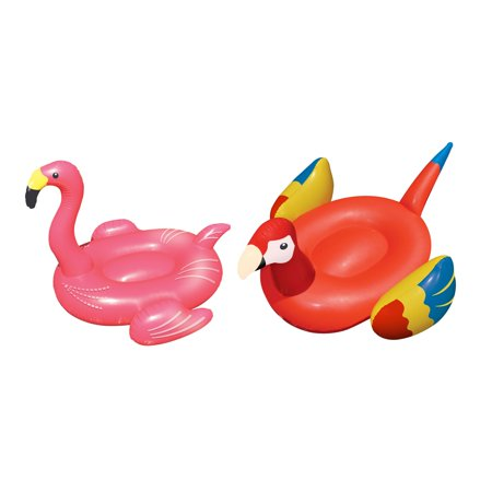 Swimline Swimming Pool Giant Rideable 75 Inch Tropical Parrot & Flamingo Floats](Giant Parrot)