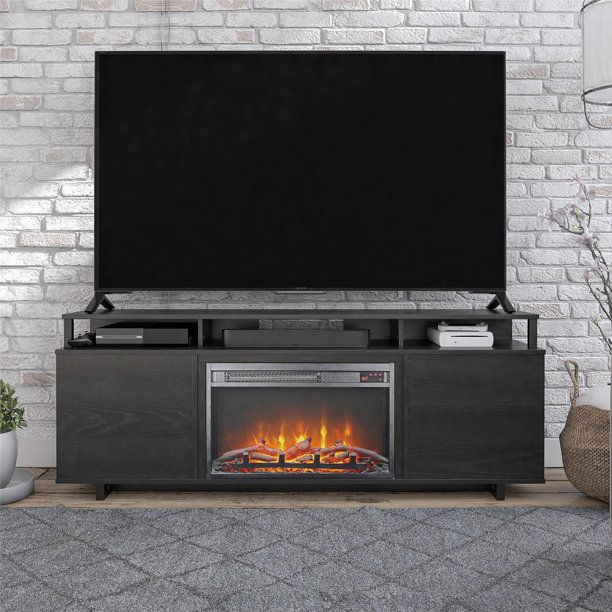 "Ameriwood Home Carson Fireplace TV Stand for TVs up to 65"", Black Oak"