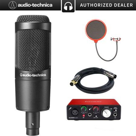Audio-Technica Cardioid Condenser Microphone (AT2035) with Focusrite Scarlett Solo USB Audio Interface, Monoprice Premier Series XLR 10