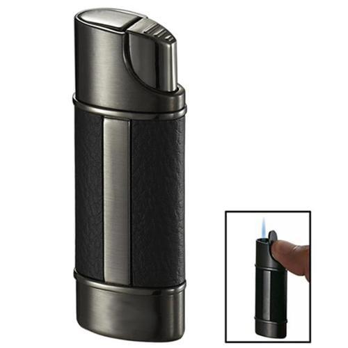 Visol VLR101601 Visol Piccolo Leather & Gunmetal Wind-Resistant Jet Flame Lighter