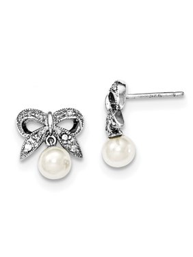 Sterling Silver FW Cultured Pearl CZ Post Earrings grams (L 14mm W 11mm)Polished | Post | Freshwater cultured pearl | CZ | Dangle | Rhodium-plated