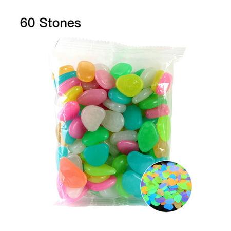 60pcs/Bag Luminous Pebbles Colorful Stones Home Fish Tank Outdoor Decor Garden Walkway Glow in the Dark