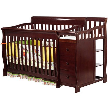 Dream On Me, 5-in-1 Brody Convertible Fixed-Side Crib With Changer, Cherry ()