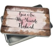 Christmas Cookie Tin You Are My Favorite Husband Valentine's Day Fancy Heart for Gift Giving Empty Candy Snack Pastry Treat Swap Box Cerebrate a Holiday