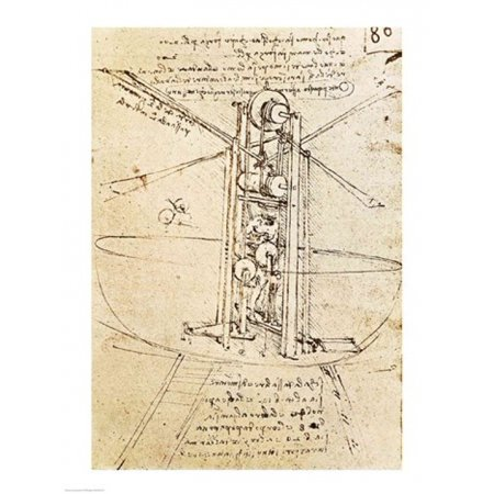 Vertically Standing Birds-winged Flying Machine Canvas Art - Leonardo Da Vinci (18 x 24) Da Vinci Flying Machine