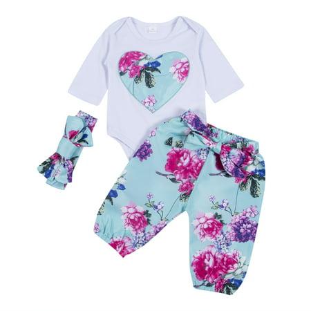 c8ff589badc3 Gaono - 3Pcs Newborn Infant Baby Girl Floral Romper Bodysuit with ...