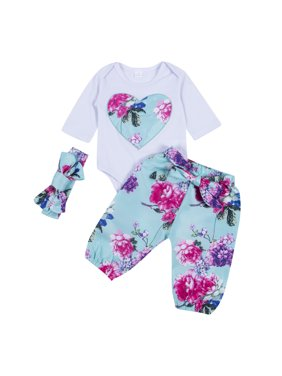 8a785efc0 Product Image 3Pcs Newborn Infant Baby Girl Floral Romper Bodysuit with  Headband Long Pants Outfit Clothes Set. Gaono