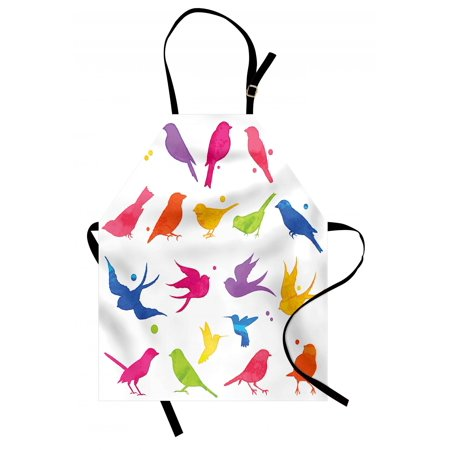 Birds Apron Colorful Silhouette Sitting and Flying Birds Happiness Buddies Friends Animal Life, Unisex Kitchen Bib Apron with Adjustable Neck for Cooking Baking Gardening, Multicolor, by Ambesonne