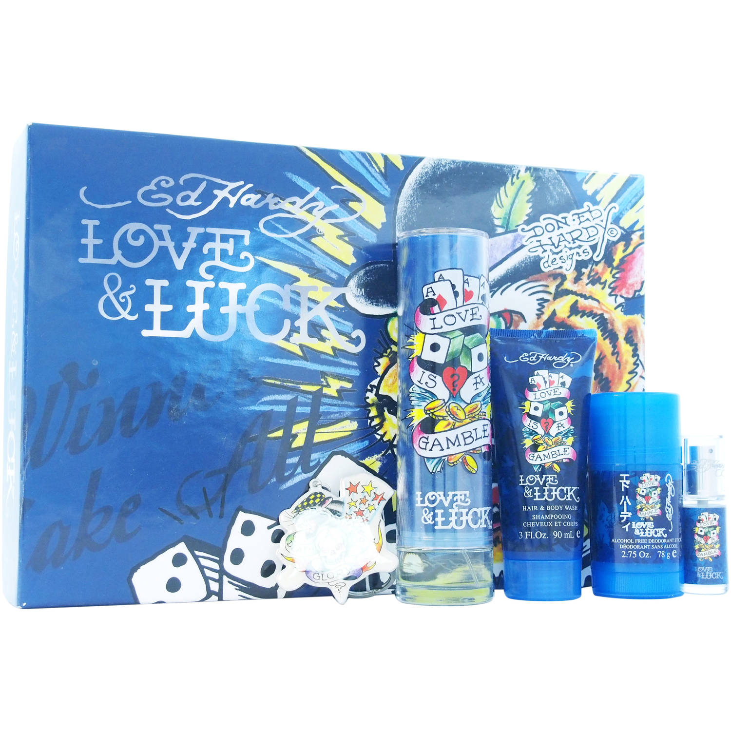 Christian Audigier Love & Luck Gift Set -- 3.4 oz Eau De Toilette Spray + 3 oz Hair & Body Wash + 2.75 oz Deodorant Stick + .25 oz Mini EDT Spray + Tatoo Design Key Chain For Men